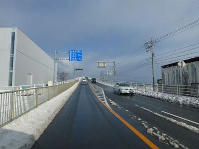 境港市と松江市にかかる江島大橋、通称ベタ踏み坂の画像