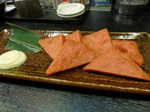 米子空港の居酒屋で食べた江木なうなう赤天