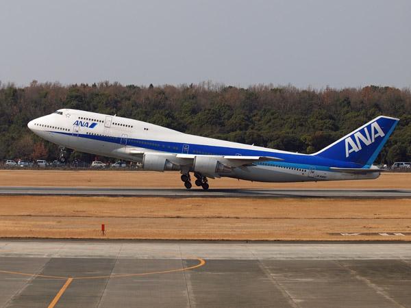 ANAB747-400ジャンボ退役ツアー 熊本空港離陸