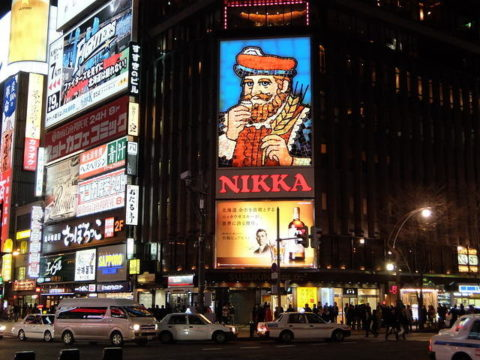 札幌すすきの交差点 ニッカ 看板