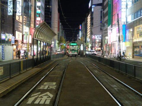 札幌 市電 路面電車 すすきの 夜