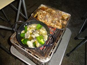 塩原グリーンビレッジ オートキャンプ イカゴロ焼き カキのアヒージョ