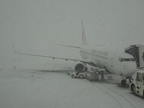 青森空港 大雪 ボーイング737-800 JAL
