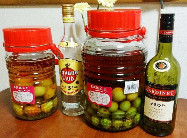 梅酒の仕込み ラム(ハバナクラブ)とブランデー 氷砂糖は少な目で