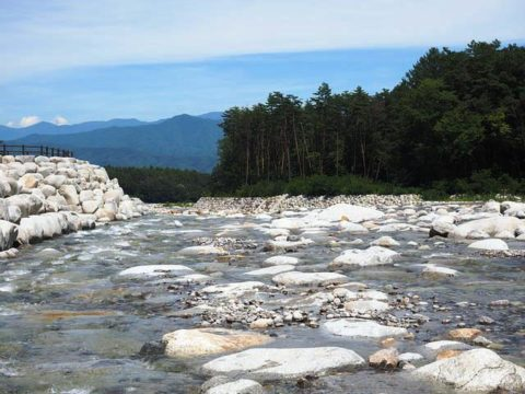 南アルプスを眺めながら大田切川を渡る 冷たい水と白い花崗岩が印象的