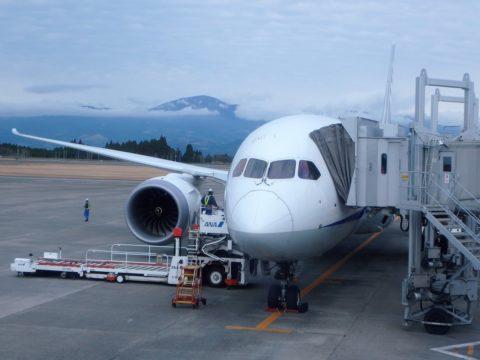 ANAボーイング787鹿児島空港到着
