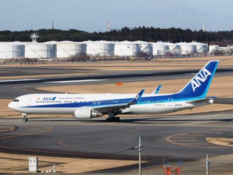 成田空港で撮影したB767-300ERウイングレット付き