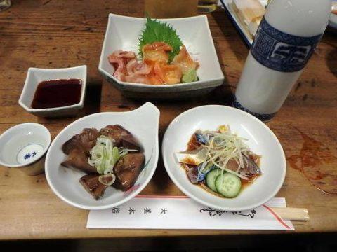 名古屋の大甚で食べた肴、おつまみ。赤貝、しめ鯖、鶏モツ