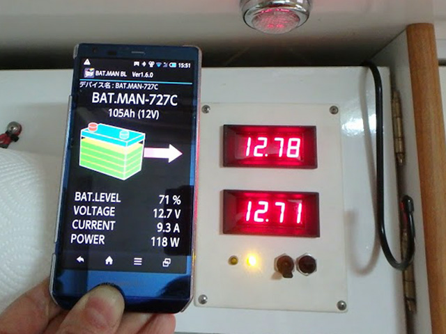 サブバッテリーモニターBAT.MANと自分で設置した電圧計の比較