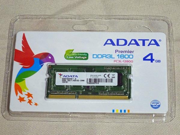 ADATAの4GBメモリPC3L-12800(DDR3L-1600)