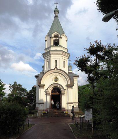 函館ハリストス正教会の正面のファザード