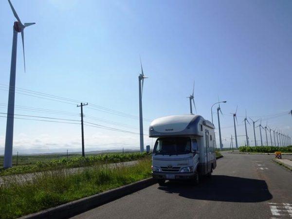 オトンルイ風力発電所とキャンピングカーDフェイブレイク