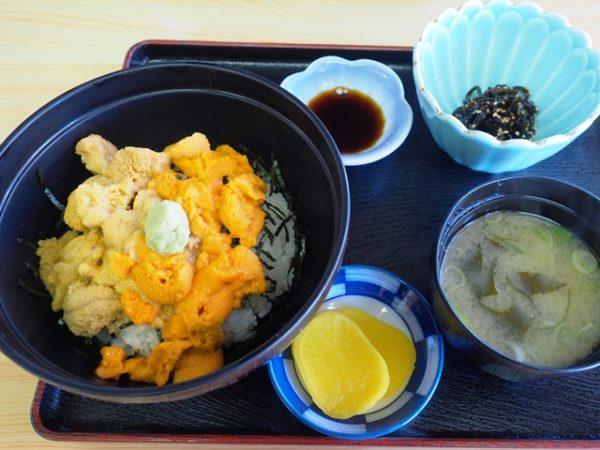 利尻島鴛泊の磯焼亭の二色うに丼、エゾバフンウニ