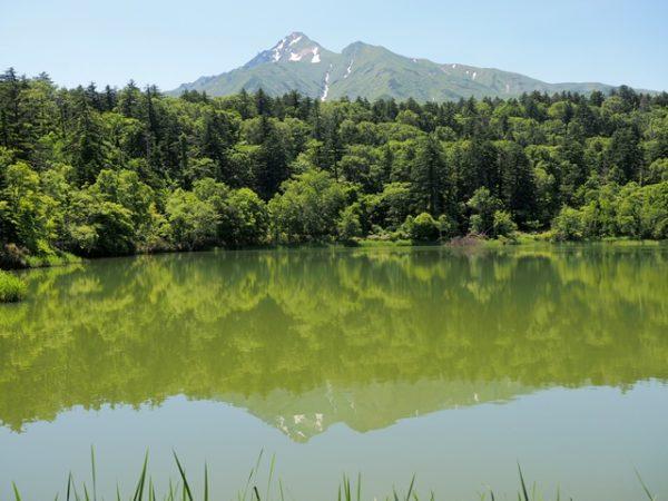 利尻島姫沼に映る利尻山