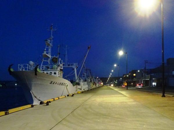 副港市場のすぐ横の岸壁に停泊する漁船、夜景