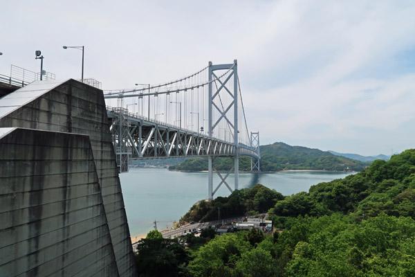 サイクリングロードで撮影した因島大橋