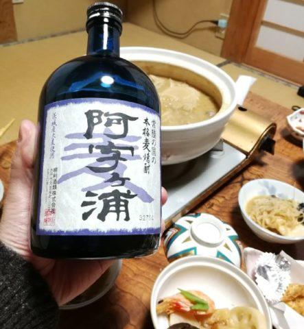 麦焼酎阿字ヶ浦とあんこう鍋