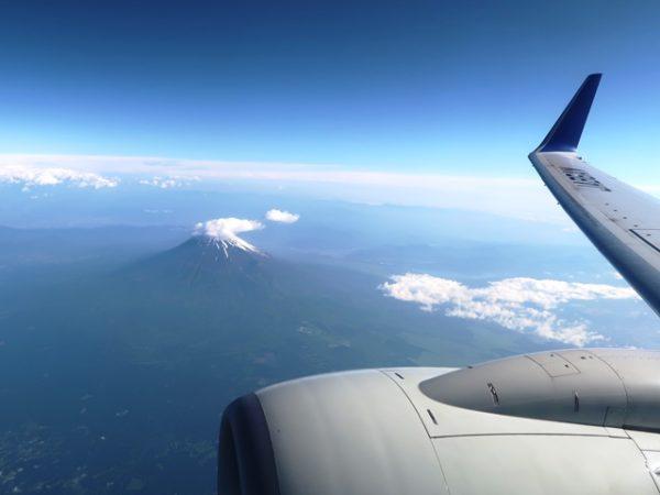 ANA737-800羽田発鹿児島行き機内から見た富士山