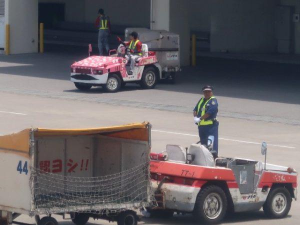 石垣島空港ピンクジンベイジェットカラーのトラクタ