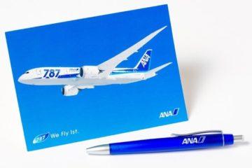 ANAのポストカードとボールペン