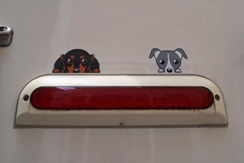 キャンピングカーのテールランプに貼ったダックスフントとイタグレのステッカー
