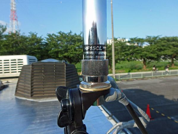 ダイヤモンドアンテナのモービルホイップアンテナHF15CLをキャンピングカーに取り付け