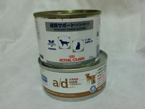 サイエンスダイエットa/d缶とロイヤルカナン退院サポート ペッパーの流動食