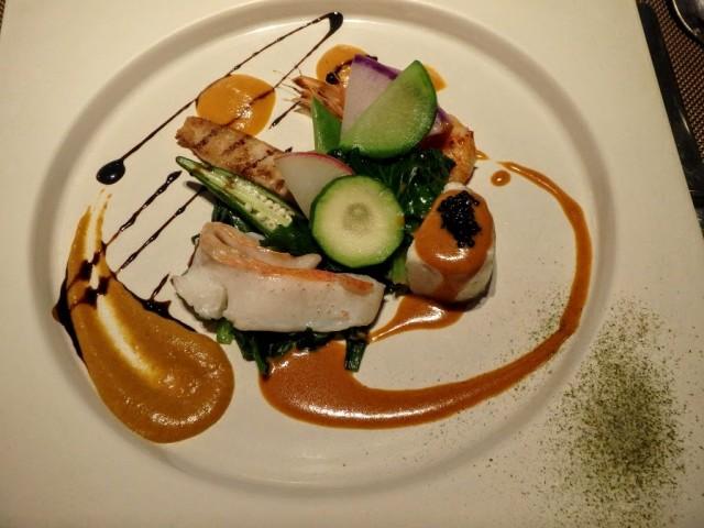 結婚20周年フランス料理ディナーの魚料理キャビア添え